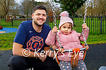 Little Maria Vogdnovic with her uncle Nemo Vogdnovic enjoying the playground in the Tralee town park on Thursday.
