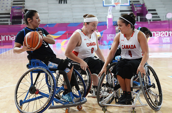 Rosalie Lalonde and Tamara Steeves, Lima 2019 - Wheelchair Basketball // Basketball en fauteuil roulant.<br /> Women's wheelchair basketball competes against Argentina // Le basketball en fauteuil roulant féminin contre Argentine. 25/08/2019.