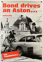BNPS.co.uk (01202) 558833. <br /> Pic: Ewbanks/BNPS<br /> <br /> Pictured: Also included is this poster from Aston Martin's 1960s advertising campaign exploiting the Bond link. Estimate £1,500.<br /> <br /> A rare movie poster for the James Bond film Thunderball that was designed to be torn into four pieces is tipped to sell for £12,000.<br /> <br /> The quad poster contains four individual works of art promoting the 1965 movie.<br /> <br /> The panels show Sean Connery as 007 flying through the air in a jet suit, being mobbed by glamorous women, fighting a scuba diver and sat on a beach poised with weapon in hand.