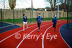 Oisin Lynch, Sam and Mia Griffin of the Killarney Valley Athletic Club running on the new track on Saturday.