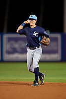 Charlotte Stone Crabs second baseman Tristan Gray (9) throws to first base during the second game of a doubleheader against the St. Lucie Mets on April 24, 2018 at First Data Field in Port St. Lucie, Florida.  St. Lucie defeated Charlotte 5-3.  (Mike Janes/Four Seam Images)