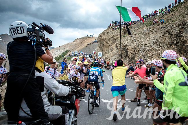 stage leader Nairo Quintana (COL/Movistar) up the Col du Galibier (HC/2622m/23km@5.1%)<br /> <br /> Stage 18: Embrun to Valloire (208km)<br /> 106th Tour de France 2019 (2.UWT)<br /> <br /> ©kramon