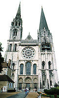 Chartres: Cathedral of Our Lady of Chartres--elevation 28 mm. Gothic architecture. Photo '87.