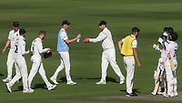 Middlesex players continue to sanitise their hands while there is a break in play during Sussex CCC vs Middlesex CCC, LV Insurance County Championship Division 3 Cricket at The 1st Central County Ground on 7th September 2021