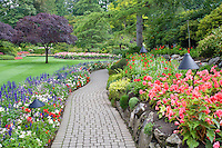 Pathway with flowers. Butchart Gardens, B.C. Canada