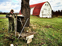 Mel Storm tends his bee hives at the Braun Farm in Westerville OH