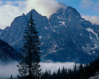 Sunrise light on Teton Peak as viewed from the North Fork of Cascade Canyon ; Grand Teton National Park, WY