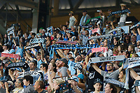 ST PAUL, MN - JULY 24: Minnesota United FC Fans celebrate a win during a game between Portland Timbers and Minnesota United FC at Allianz Field on July 24, 2021 in St Paul, Minnesota.