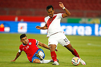 13th November 2020; National Stadium of Santiago, Santiago, Chile; World Cup 2020 Football qualification, Chile versus Peru;  Cesar Pinares of Chile slides in on Renato Tapia of Peru