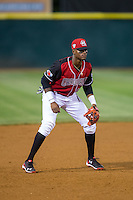 Hickory Crawdads third baseman Ti'Quan Forbes (10) on defense against the Lexington Legends at L.P. Frans Stadium on April 29, 2016 in Hickory, North Carolina.  The Crawdads defeated the Legends 6-2.  (Brian Westerholt/Four Seam Images)