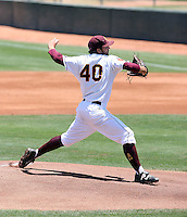 Mitchell Lambson #40 of the Arizona State Sun Devils pithces against the UCLA Bruins at Packard Stadium on May 29, 2011 in Tempe, Arizona. .Photo by:  Bill Mitchell/Four Seam Images.