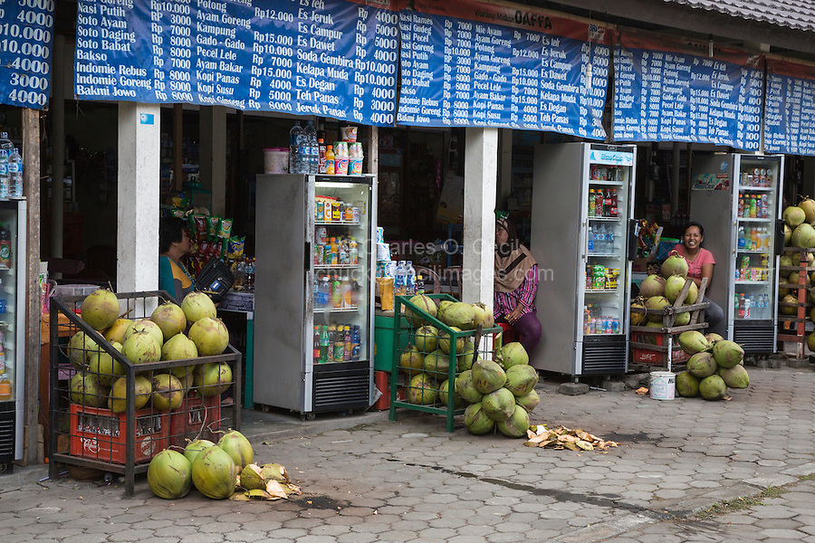 Yogyakarta, Java, Indonesia.  Prambanan.  Refreshment Stands with Fresh Coconuts Line Exit from the Temple Compound.