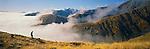 Hunter in misty hills at Glen Wye Statiom. Canterbury Region. New Zealand.