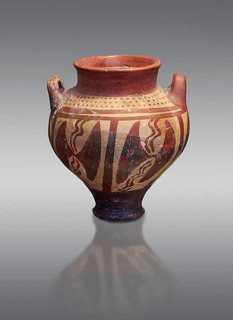 Small Mycenaean amphora decorated with double headed axes, Grave VI, Grave Circle A, Mycenae 16-15 Cent BC. National Archaeological Museum Athens. Cat No 196.  Grey Background