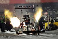 Aug. 31, 2012; Claremont, IN, USA: NHRA top fuel dragster driver Terry McMillen during qualifying for the US Nationals at Lucas Oil Raceway. Mandatory Credit: Mark Rebilas-