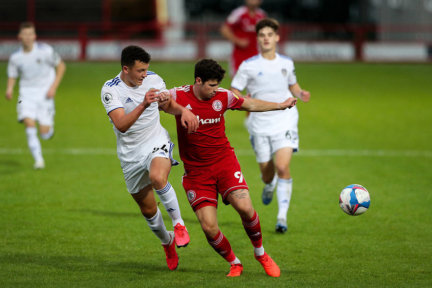Accrington Stanley's Ryan Cassidy shields the ball from Leeds United U21's Kris Moore<br /> <br /> Photographer Alex Dodd/CameraSport<br /> <br /> EFL Trophy Northern Section Group G - Accrington Stanley v Leeds United U21 - Tuesday 8th September 2020 - Crown Ground - Accrington<br />  <br /> World Copyright © 2020 CameraSport. All rights reserved. 43 Linden Ave. Countesthorpe. Leicester. England. LE8 5PG - Tel: +44 (0) 116 277 4147 - admin@camerasport.com - www.camerasport.com