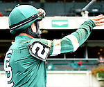 Greenpointcrusader (no. 2), ridden by Joe Bravo and trained by Domenick Schettino, wins the 144th running of the grade 1 Champagne Stakes for two year olds on October 03, 2015 at Belmont Park in Elmont, New York.  (Bob Mayberger/Eclipse Sportswire)