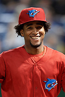 Clearwater Threshers pitcher Adonis Medina (18) after a game against the Dunedin Blue Jays on April 6, 2018 at Spectrum Field in Clearwater, Florida.  Clearwater defeated Dunedin 8-0.  (Mike Janes/Four Seam Images)