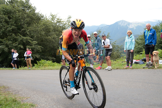 Kevin Inkelaar (NED) Bahrain McLaren rounds the final bend before the finish of Stage 3 of the Route d'Occitanie 2020, running 163.5km from Saint-Gaudens to Col de Beyrède, France. 3rd August 2020. <br /> Picture: Colin Flockton | Cyclefile<br /> <br /> All photos usage must carry mandatory copyright credit (© Cyclefile | Colin Flockton)