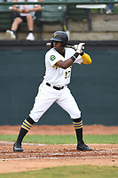 Bristol Pirates Joseivin Medina (27) bats during the game with the Burlington Royals at Boyce Cox Field on June 19, 2019 in Bristol, Virginia. The Royals defeated the Pirates 1-0. (Tracy Proffitt/Four Seam Images)