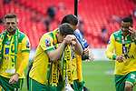 Norwich City 2 Middlesbrough 0, 25/05/2015. Wembley Stadium, Championship Play Off Final. Captain Russell Martin can't quite believe he has led his team to the Premier League. A match worth £120m to the victors. On the day Norwich City secured an instant return to the Premier League with victory over Middlesbrough in front of 85,656. Photo by Simon Gill.