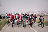The peloton taking it easy in the infamous Moeren after the breakaway group is allowed to go free<br /> <br /> 81st Gent-Wevelgem in Flanders Fields (1.UWT)<br /> Deinze > Wevelgem (251km)