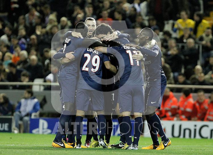 Paris Saint-Germain's players celebrate goal during Champions League 2012/2013 match.February 12,2013. (ALTERPHOTOS/Acero)