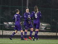 RSCA players celebrate their team's goal during a female soccer game between Oud Heverlee Leuven and RSC Anderlecht on the 12 th matchday of the 2020 - 2021 season of Belgian Womens Super League , sunday 31 st of January 2021  in Heverlee , Belgium . PHOTO SPORTPIX.BE | SPP | SEVIL OKTEM