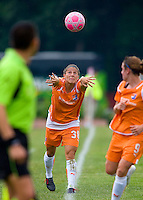 Sky Blue FC defender/midfielder Julianne Sitch (38) throws in the ball during a WPS match at Anheuser-Busch Soccer Park, in St. Louis, MO, June 7, 2009. Athletica won the match 1-0.