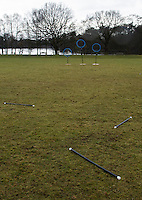 08 MAR 2015 - NOTTINGHAM, GBR - Brooms made from PVC tubing lay on the pitch at the end of a match during the 2015 British Quidditch Cup at Woollaton Hall and Deer Park in Nottingham, Great Britain (PHOTO COPYRIGHT © 2015 NIGEL FARROW, ALL RIGHTS RESERVED)