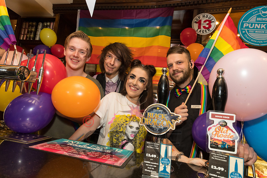 Fun behind the bar during Derby Pride Festival at The Thomas Leaper from left are Bar Associates Josh Begg and Daniel Clarke, with Duty Managers Emma Carey and David East