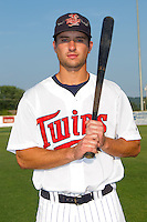 Nate Roberts #19 of the Elizabethton Twins at Joe O'Brien Field August 15, 2010, in Elizabethton, Tennessee.  Photo by Brian Westerholt / Four Seam Images
