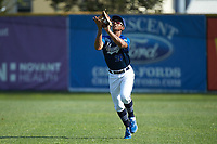 Martinsville Mustangs right fielder Justin Rodriguez (20) (North Carolina A&T) catches a fly ball during the game against the High Point-Thomasville HiToms at Finch Field on July 26, 2020 in Thomasville, NC.  The HiToms defeated the Mustangs 8-5. (Brian Westerholt/Four Seam Images)