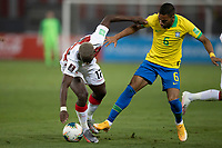 13th October 2020; National Stadium of Peru, Lima, Peru; FIFA World Cup 2022 qualifying; Peru versus Brazil;  Luis Advíncula of Peru tackled by Renan Lodi of Brazil