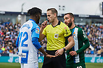 Chidozie Collins Awaziem of CD Leganes and Sergi Darder of RCD Espanyol have words with the referee during La Liga match between CD Leganes and RCD Espanyol at Butarque Stadium in Leganes, Spain. December 22, 2019. (ALTERPHOTOS/A. Perez Meca)
