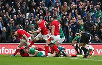 Saturday 8th February 2020 | Ireland vs Wales<br /> <br /> Jordan Larmour scores the first Irish try during the 2020 6 Nations Championship   clash between Ireland and Wales at he Aviva Stadium, Lansdowne Road, Dublin, Ireland. Photo by John Dickson / DICKSONDIGITAL