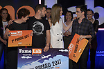 Queen Letizia of Spain with Pedro Daniel Pajares (c-l), Ana Peiró (l) and Pablo Izquierdo (r) winners of the Final of the Spanish edition of 2017 of the contest of scientific monologues 'Famelab'. May 24 ,2017. (ALTERPHOTOS/Pool)