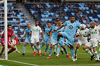 SAINT PAUL, MN - MAY 1: Ramon Abila #9 of Minnesota United FC clears the ball during a game between Austin FC and Minnesota United FC at Allianz Field on May 1, 2021 in Saint Paul, Minnesota.