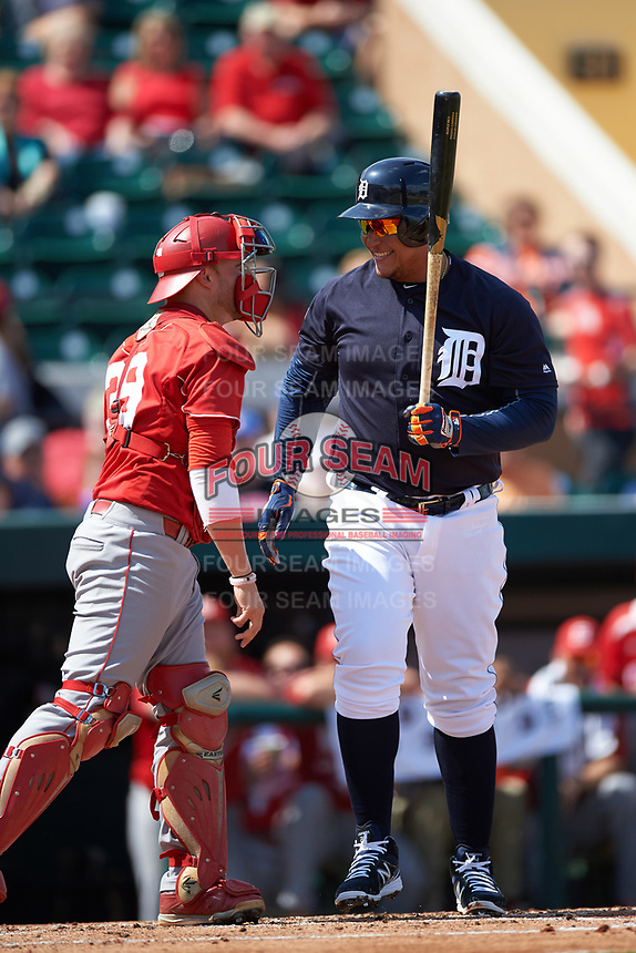 Detroit Tigers first baseman Miguel Cabrera (24) at bat during an exhibition game against the Florida Southern Moccasins on February 29, 2016 at Joker Marchant Stadium in Lakeland, Florida.  Detroit defeated Florida Southern 7-2.  (Mike Janes/Four Seam Images)