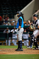 Tampa Tarpons first baseman Dermis Garcia (40) at bat during a Florida State League game against the Lakeland Flying Tigers on April 5, 2019 at Publix Field at Joker Marchant Stadium in Lakeland, Florida.  Lakeland defeated Tampa 5-3.  (Mike Janes/Four Seam Images)