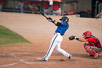 Missoula Osprey first baseman Joe Robbins (26) follows through on his swing in front of catcher Griffin Barnes (28) during a Pioneer League game against the Orem Owlz at Ogren Park Allegiance Field on August 19, 2018 in Missoula, Montana. The Missoula Osprey defeated the Orem Owlz by a score of 8-0. (Zachary Lucy/Four Seam Images)