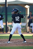 AZL White Sox Misael Gonzalez (12) at bat during an Arizona League game against the AZL Royals at Camelback Ranch on June 19, 2019 in Glendale, Arizona. AZL White Sox defeated AZL Royals 4-2. (Zachary Lucy/Four Seam Images)