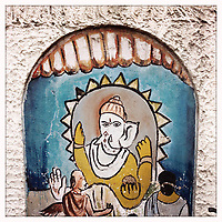A painting of the Hindu deity, Ganesh, outside a school on the streets of Kolkata.