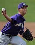 University of Washington's Dae Yang Kim pitches in a college baseball game against UC Davis, in Davis, Ca., on Saturday, Feb. 16, 2013. Davis won the opener 6-5 and dropped the second game 3-2..Photo by Cathleen Allison