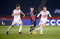9th January 2021, Paris, France; French League 1 football, St. Germain versus Stade Brest;  MARCO VERRATTI PSG  PAUL LASNE BRE  14 IRVIN CARDONA BRE