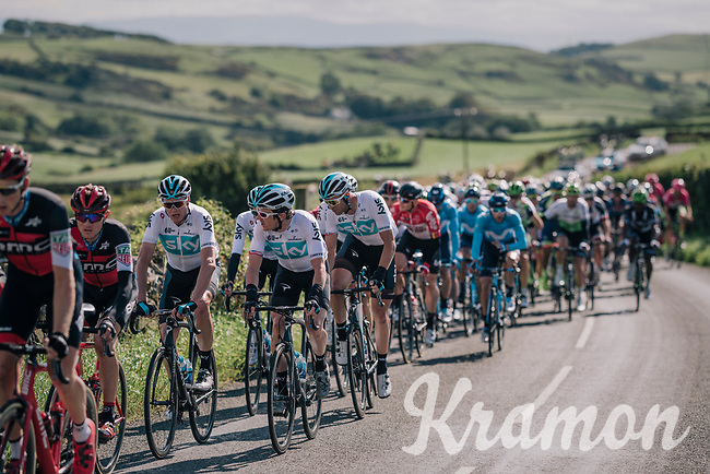Chris Froome (GBR/SKY) & Geraint Thomas (GBR/SKY) brotherly joined while shatting in the peloton<br /> <br /> Racing in/around Lake District National Parc / Cumbria<br /> <br /> Stage 6: Barrow-in-Furness to Whinlatter Pass   (168km)<br /> 15th Ovo Energy Tour of Britain 2018