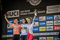 podium:<br /> <br /> 1st place: Elisa Balsamo (ITA/Valcar-Travel and Service)<br /> 2nd place: Marianne Vos (NED/Jumbo Visma)<br /> 3th place: Katarzyna Niewiadoma (POL/Canyon Sram Racing)<br /> <br /> Women Elite – Road Race (WC)<br /> Race from Antwerp to Leuven (157.7km)<br /> <br /> ©kramon