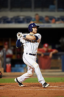 Charlotte Stone Crabs catcher Brett Sullivan (8) follows through on a swing during a game against the Palm Beach Cardinals on April 11, 2017 at Charlotte Sports Park in Port Charlotte, Florida.  Palm Beach defeated Charlotte 12-6.  (Mike Janes/Four Seam Images)