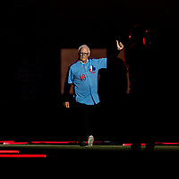 25 March 2019: Former Montreal Expo pitcher Claude Raymond is introduced during the pre-game ceremonies commemorating the 50-year anniversary of the Expos prior to an exhibition game between the Toronto Blue Jays and the Milwaukee Brewers at Olympic Stadium in Montreal, Quebec, Canada. The Brewers defeated the Blue Jays 10-5 in the first of two MLB pre-season games in the former home of the Montreal Expos. Mandatory Credit: Ed Wolfstein Photo *** RAW (NEF) Image File Available ***