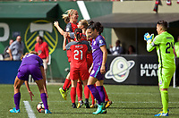 Portland, OR - Saturday October 07, 2017: Lindsey Horan, Amandine Henry celebrate a goal during a National Women's Soccer League (NWSL) semifinals match between the Portland Thorns FC and the Orlando Pride at Providence Park.